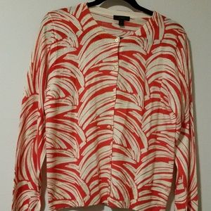 Patterned J. Crew lightweight cardigan with gold